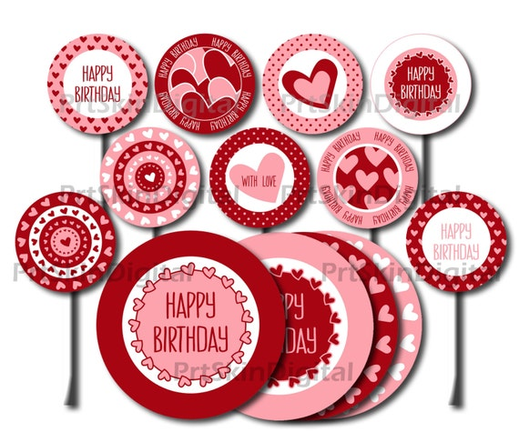 Happy Birthday Cupcake Toppers Printables ~ Printable cake toppers happy birthday red pink hearts dots diy party cupcake