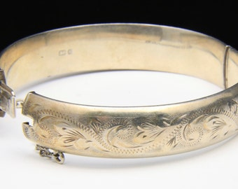 Vintage Sterling Silver Etched Bangle Bracelet Hinged Signed