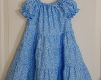 Girls Sky Blue Tiered Style Dress. {Sizes 3-6mos, 12-18mos, 2T, 3T, 4, 5, 6, 7, 8, 10, and 12.}