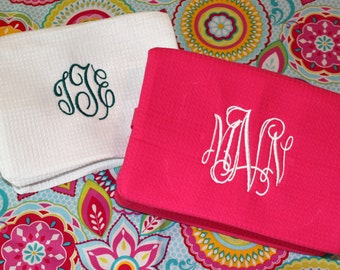 CLEARANCE - Monogrammed Waffled Make-Up Cosmetic Toiletry Bag