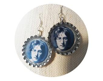 John Lennon Bottle Cap Earrings - The Beatles Jewelry - British Invasion - John, Paul, Ringo, & George - Nickel Free - .925 Silver Ear Hooks