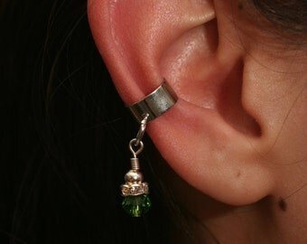 Green Bead Ear Cuff