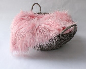 Pink Mongolian Faux Fur Prop, Long Pile MOngolian Faux Fur, Newborn Photo PRop. Ready to Ship.