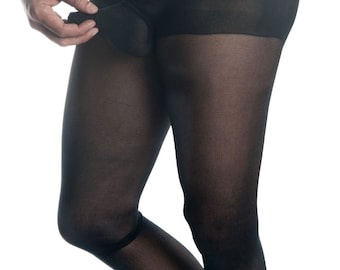 Mantyhose, Pantyhose For Men With Comfort Sleeve BLACK