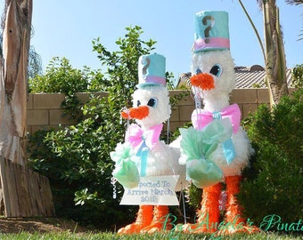gender reveal custom pinata baby shower delivery stork pinata gender