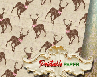 DEERs - Printable wrapping paper for Christmas gifts, Scrapbooking, Creat - Download and Print
