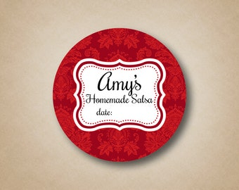 Red Homemade Salsa Mason Jar Labels Custom Canning Labels Stickers for Mason Jar Lid Red Damask Canning Stickers Gifts for the cook