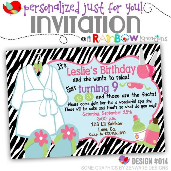 014: DIY Zebra Print Spa 3 Party Invitation Or Thank You
