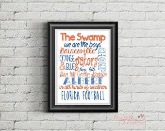 University of Florida Print; Gator Jargon; UF Wall Art; Go Gators; Florida Football; Orange and Blue; Gainesville; 8x10 Print