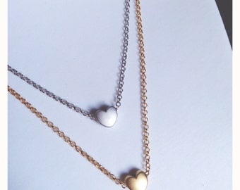 Necklace with tiny heart gold and silver