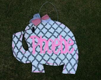 Elephant Door Hanger, Baby Door Hanger, Quatrefoil Door Hanger, Girl Door Hanger