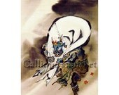 """Fūjin (風神) god of wind, watercolor on silk. (all artworks are sold without the """"Calliope's Bucket"""" stamp)"""