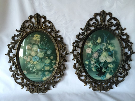 Brass Oval Frames Made In Italy Vintage Floral By DotnBettys