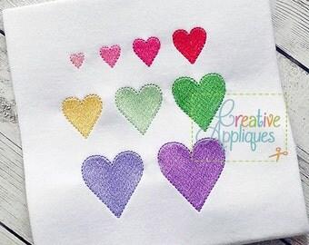 Heart Miniature Embroidery Digital Machine Embroidery Design 9 Sizes, heart embroidery, small heart embroidery, embroidery heart