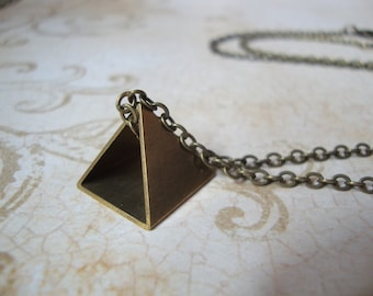 Geometry Class - Hand Cut Raw Brass Pyramid on Long Antiqued Brass Chain - Geometric Triangle Shaped Pyramid Minimalist Conversation Piece