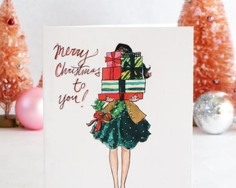 Set of Illustrated Christmas Cards: Bearing Gifts
