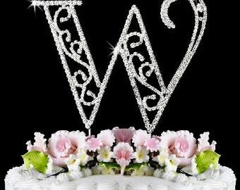 "Beautiful Crystal Rhinestone Silver Letter ""W"" Monogram Wedding, Anniversary & Birthday Cake Topper *FREE SHIPPING*"