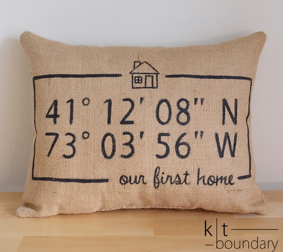 Map Coordinates Burlap Pillow - First Home Pillow