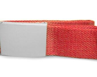 Custom engraved / personalised red canvas belt in velvet gift pouch - LR81red