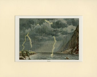 Lightning Storm Art Print - Antique Lithograph C.1900 - Beach Thunder Storm - Wall Art, Home Decor, Unique Gift - Matted 11x14