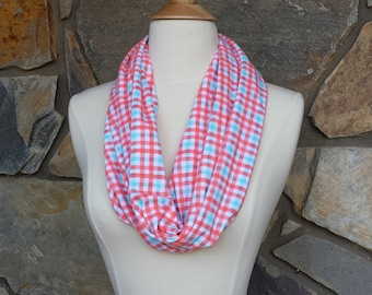 Coral and Blue Plaid Cotton Cowl