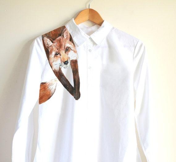 Handpainted unique shirt Fox on shoulder cute funny clothing fox lovers fox shirt