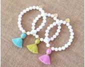 White Jade Tassel Bracelet