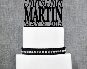Modern Last Name Wedding Cake Topper with Date, Unique Personalized Wedding Cake Topper, Elegant Mr and Mrs Wedding Cake Topper- (T017)