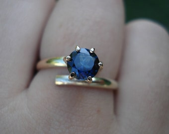 SAPPHIRE engagement ring, Modern bypass ring, blue sapphire gold ring, alternative  engagement ring, ethical conflict free gem, 9K 14K 18K