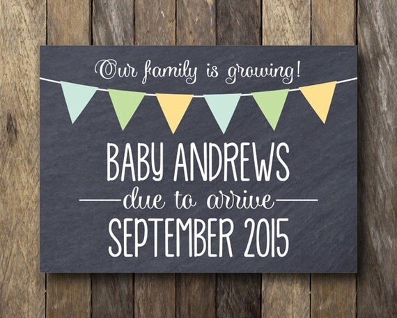 Pregnancy Announcement Card: Items Similar To Chalkboard Pregnancy Reveal