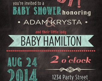 Co-ed (optional) baby girl shower invitation