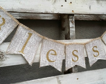 Blessed Burlap Banner, Thanksgiving Banner, Fall Decor,Christmas Banner, Holiday Decor, Rustic Winter Decor, Holiday Photo Prop