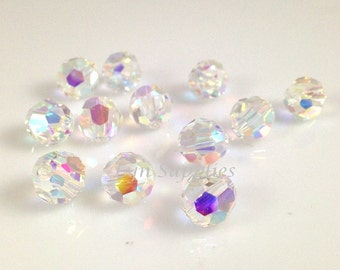 6mm CRYSTAL AB 24pcs 5000 Swarovski Crystal Faceted Round Beads Special Effects