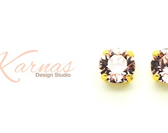 VINTAGE ROSE 8mm Crystal Chaton Stud Earrings Made With Swarovski Elements *Pick Your Finish *Karnas Design Studio *Free Shipping*