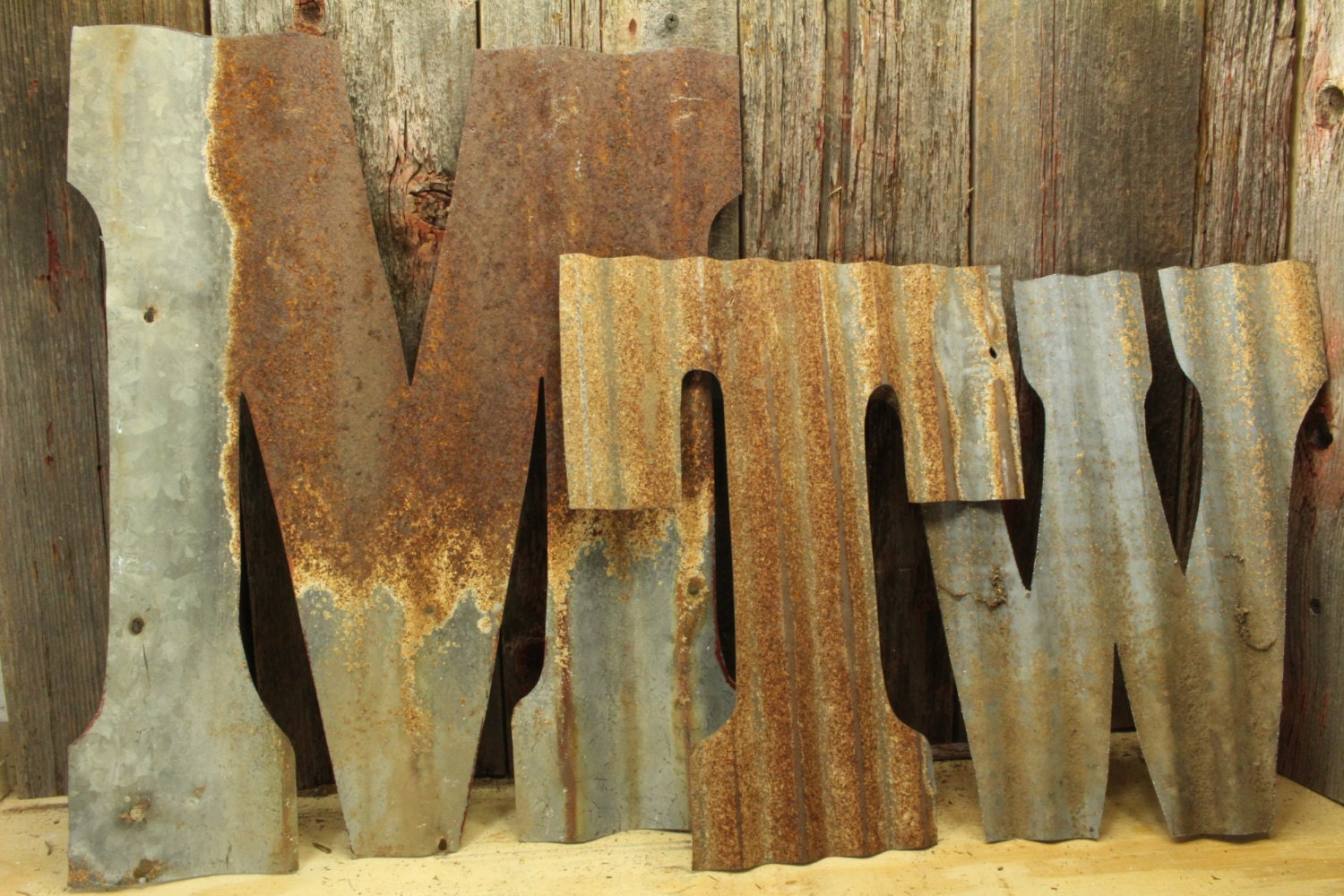 Rusty Tin Letters Free Shipping Monogram Rustic Letter