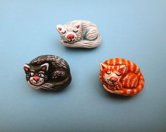 Curled up Cat Pins