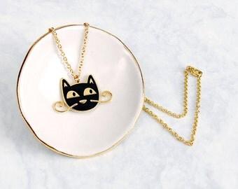 Mafia Moustache cat necklace