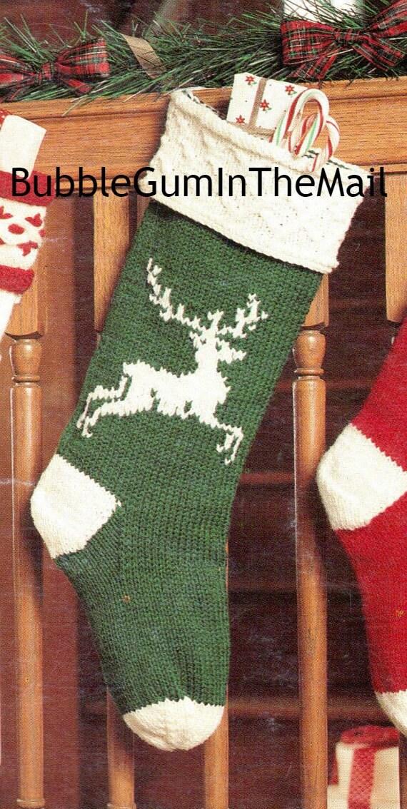Christmas Stocking Knitting Pattern Straight Needles : Knit christmas stocking pattern reindeer by bubbleguminthemail