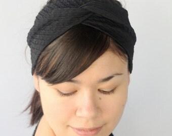 Textured Black Headband, Stretchy Turban twist.