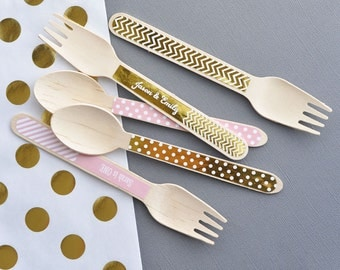 Wedding Candy Buffet Spoons - Pink and Gold Candy Buffet Decor - Pink and Gold Party Decorations Gold Party Decor (EB3065F) set of 24