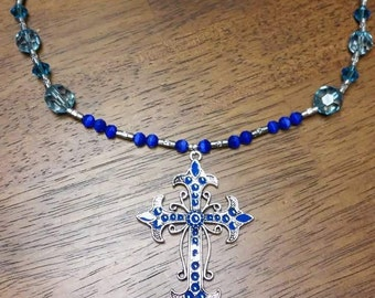 Blue Beaded Necklace with Cross Charm