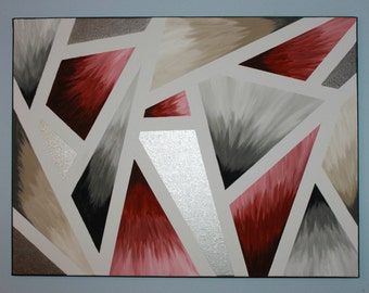 Peinture acrylique abstraite toile menthe par for Peinture moderne geometrique