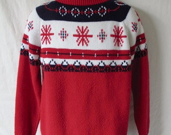 Vintage 70s Marcraft Knits Nordic Holiday Ski Sweater