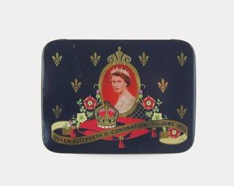 1953 Cadbury Queen Elizabeth II Coronation Souvenir Tin - 1950s navy dark blue gold red green mid century British royal made in England