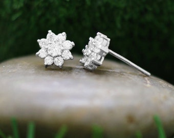 8x8MM Diamond Cluster Halo Stud <Prong> 14K White Gold (14KW) Floral Earrings *Fine Jewelry* (Free Shipping)
