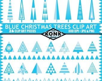 26 Digital Christmas Tree clipart designs, Blue Geometric, PNG and JPG, 300 dpi