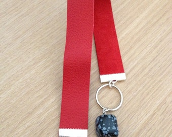 Personalized leather bookmark red with snowflake obsidian