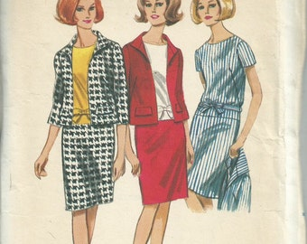 Vintage 1960s Butterick 4135 Sewing Pattern - 1960s one piece dress and jacket pattern
