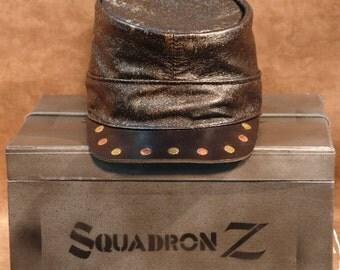 Steampunk Leather Rivets & Speckles Kepi  Hat