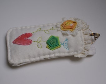 Glasses Fabric Case, Romantic flowers,  Aplique, Embroidered, Heart